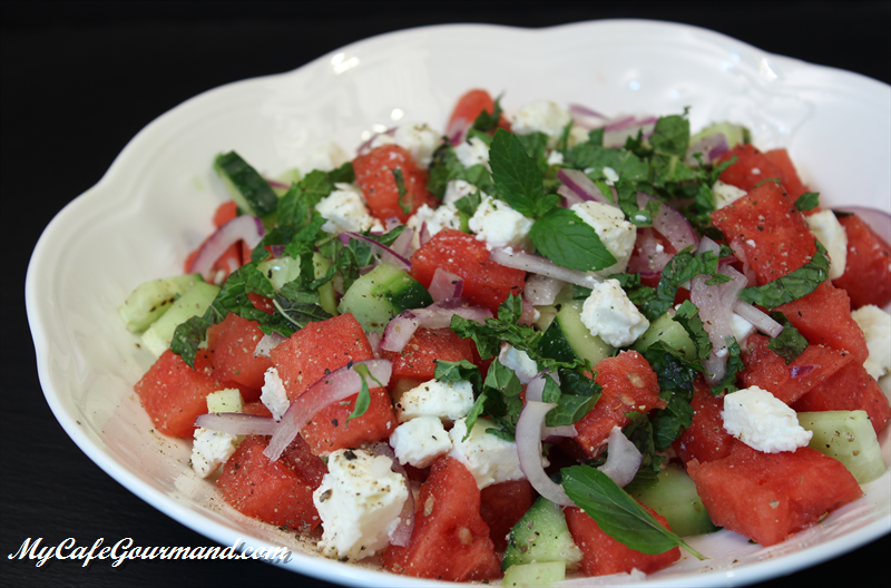 Watermelon and Cucumber salad with Feta