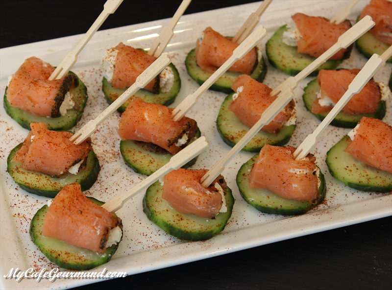 Cucumber Bites With Boursin Cheese and Salmon
