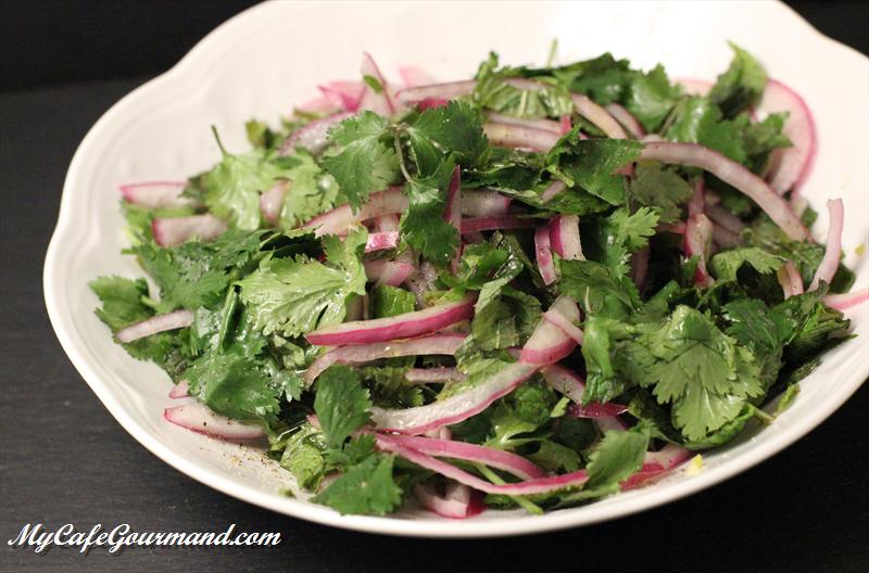 Salade de menthe et de coriandre